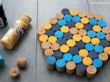 colorful geo wine cork trivet