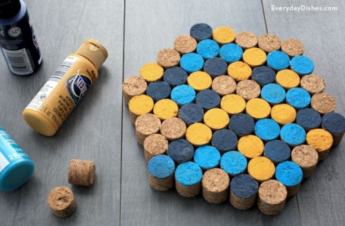 colorful geo wine cork trivet (via everydaydishes)
