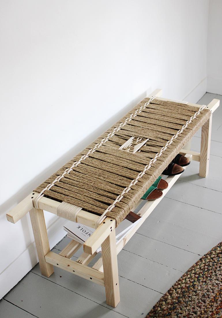 Original Diy Woven Bench Of Jute String