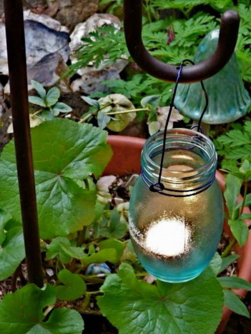 Original DIY Garden Candle Holders Of Vintage Jars