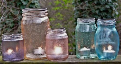 Original Garden Candle Holders Of Vintage Jars
