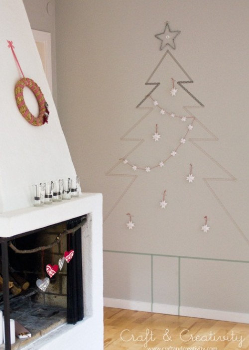 Taping Christmas Lights To Wall : Original Holiday Decor: 13 DIY Wall Christmas Trees - Shelterness