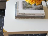 coffee table with brass corners