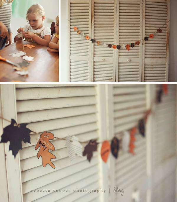 a bright paper leaf Thanksgiving garland with wishes is a great idea for fall and Thanksgiving decor