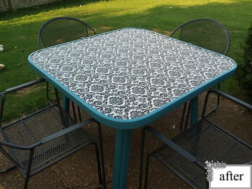 before after patio table shelterness. Black Bedroom Furniture Sets. Home Design Ideas