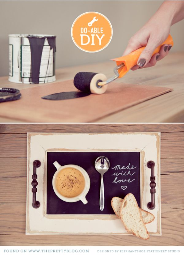 Personalized Diy Tray With A Chalkboard