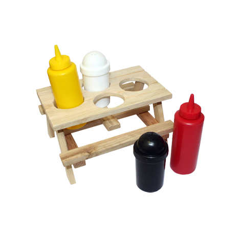 Outdoor Condiment Set Shaped Like Picnic Table