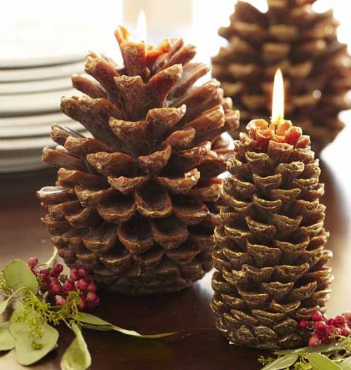10 ideas of pine cones and candles arrangements shelterness for What to do with pine cones for christmas