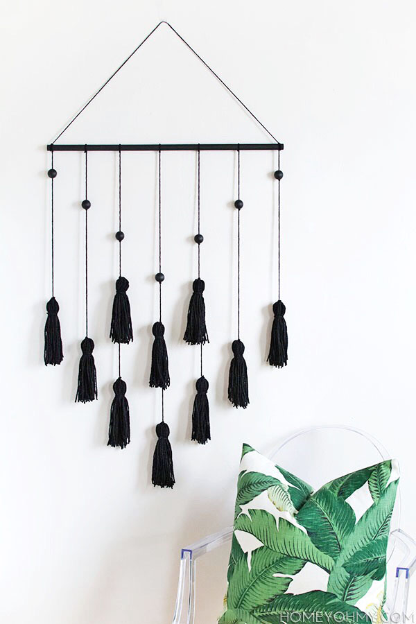 tassel and bead wall hanging