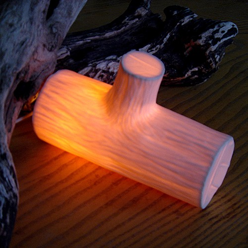 White Porcelain Wood Log Lamp