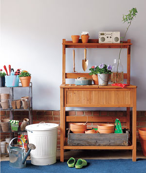 Potting Bench In A Garage