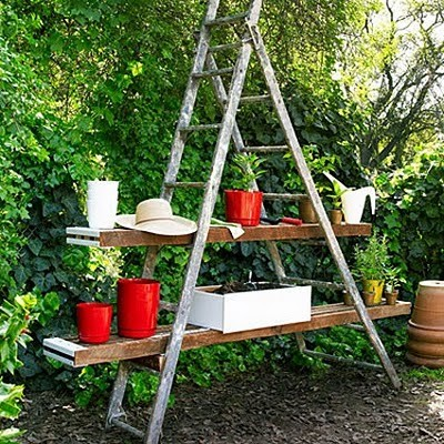 Potting Station Made Of An Old Ladder