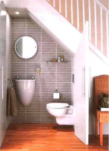 Another Powder Room Under Stairs
