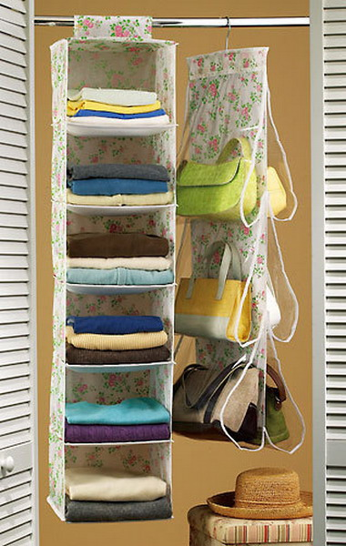 a floral fabric and sheer acryl bag holder for a closet is a real savior if you don't have much storage space