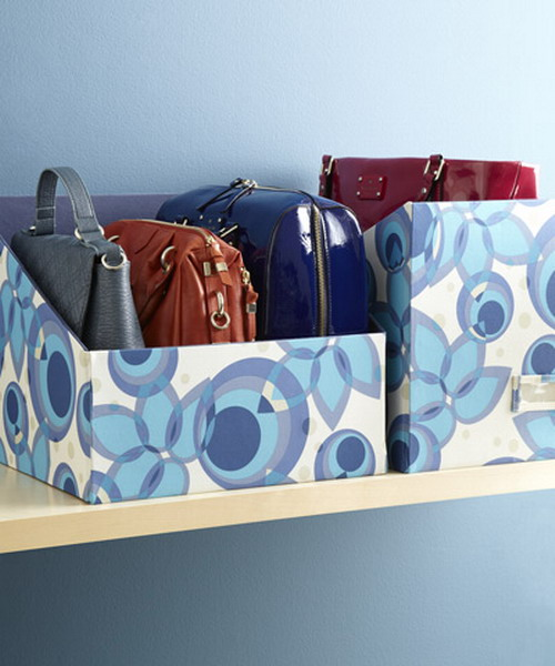 make some colorful boxes to store your bags in order or repurpose some old boxes cutting them and making them bright
