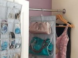 a clear bag holder with a hook on top can be hung in your wardrobe or even on a door to save the space