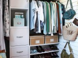 attach some hooks for your bags in your closet and you'll have much storage space free of clutter