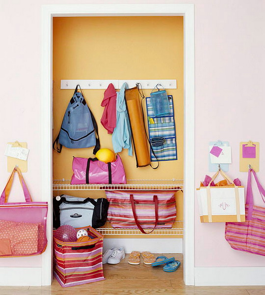 attach some hooks to the walls next to the closet, and your kids will be able to hang their bags there