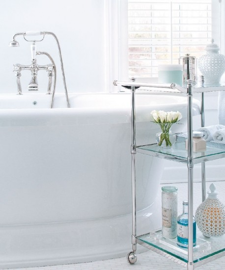 Glass storage solution you can move around a bathroom