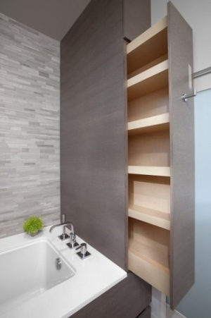 Hidden storage is always great especially in a small bathroom
