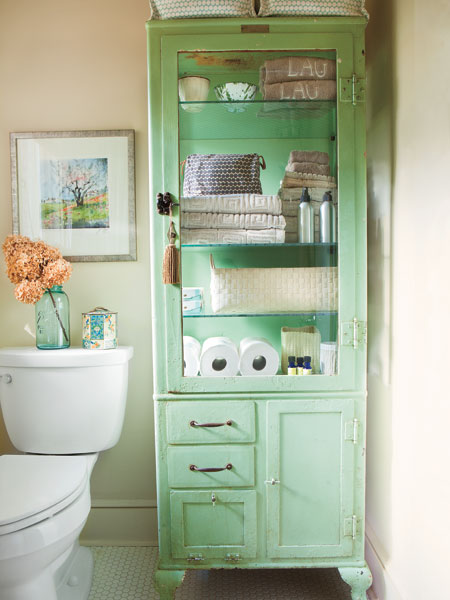 Awesome All Green Vintage Display Cabinet To Store Stuff In A Bathroom