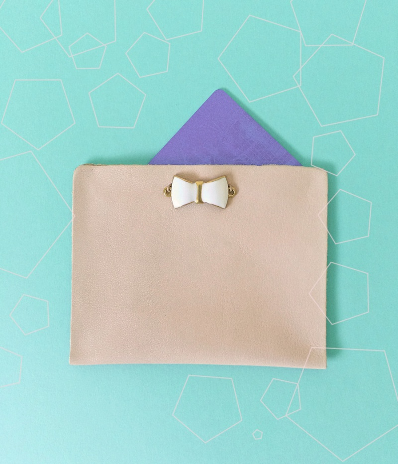 blush leather and charm card holder