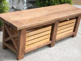 X-leg wooden bench with storage