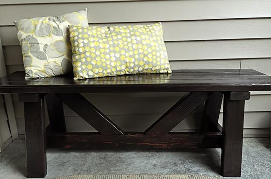 dark wood front porch bench
