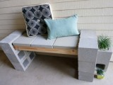 cinder front porch bench