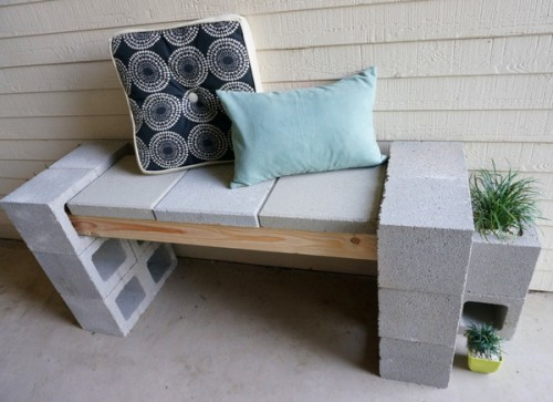 cinder front porch bench (via decoist)