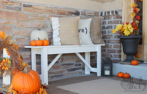simple outdoor bench (via thriftyandchic) - 12 Pretty And Practical DIY Front Porch Benches - Shelterness