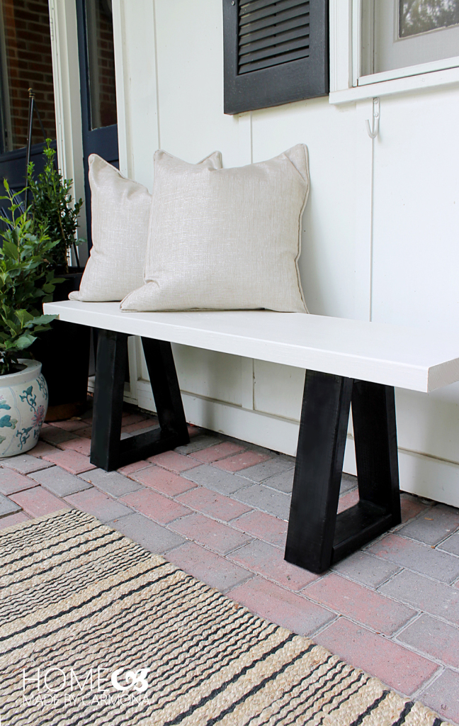 minimal front porch bench