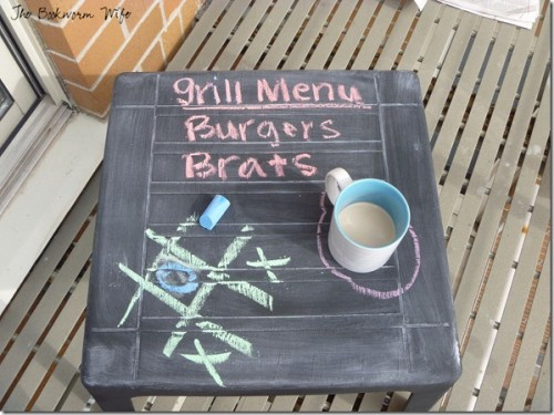 plastic chalkboard table (via thebookwormwife)