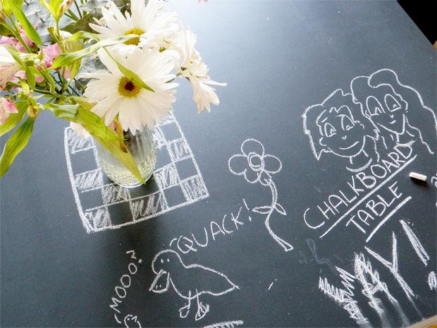 chalkboard dinner table