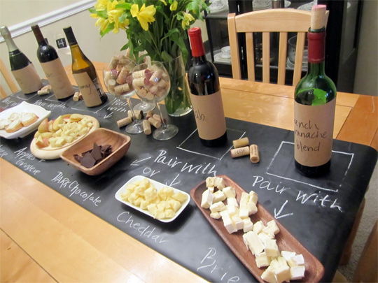 chalkboard table for dinner parties