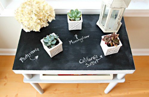 chalkboard plant table (via livingonsale)