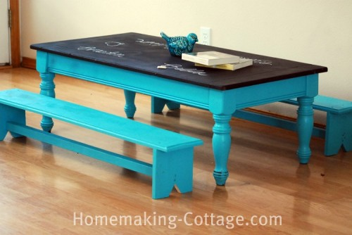 low chalkboard kids' table (via homemaking-cottage)