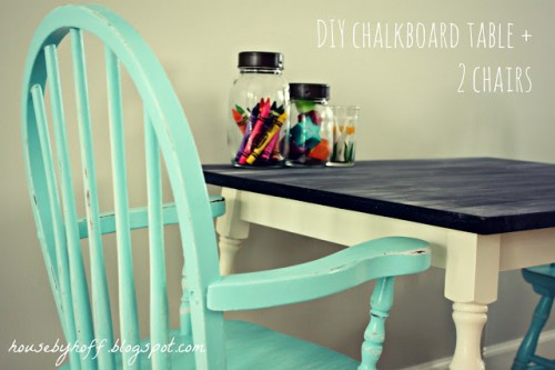 shabby chic chalkboard table (via housebyhoff)