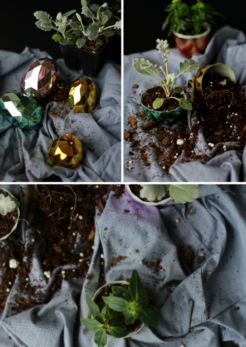 plastic Easter eggs garden (via papernstitchblog)