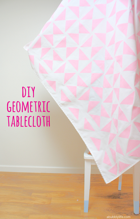 pink geometric tablecloth