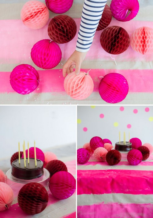 pink striped tablecloth (via ohhappyday)