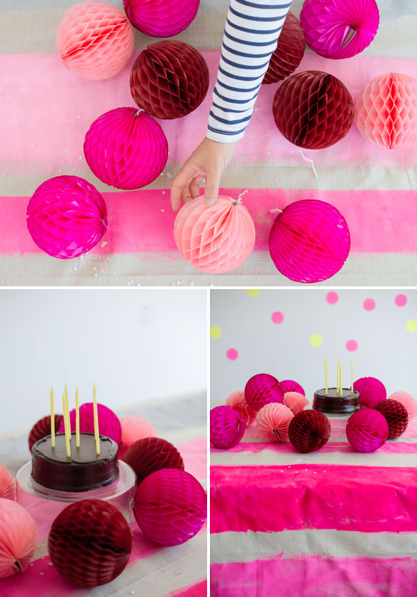 pink striped tablecloth