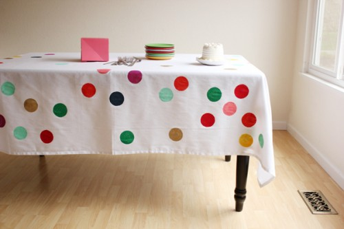 confetti tablecloth (via ohhappyday)