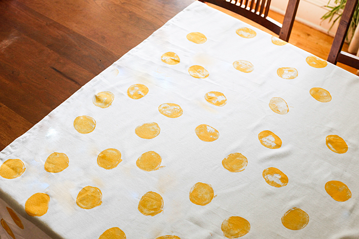 hand stamped polka dot tablecloth