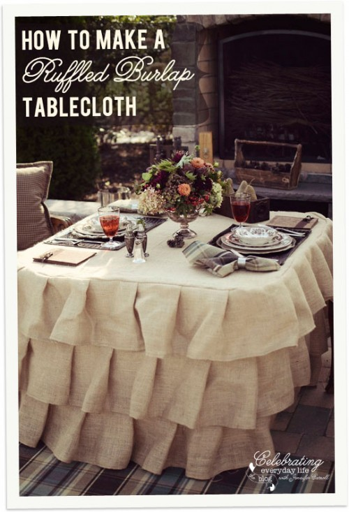 ruffled burlap tablecloth (via celebratingeverydaylife)