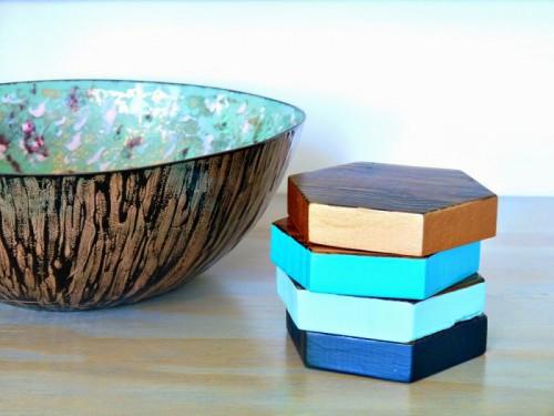 Pretty DIY Wood Hexagon Coasters