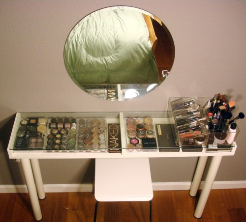 Fancy makeup vanity from IKEA parts via shelterness