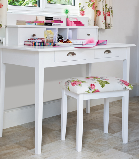 Cute diy dressing table of an old desk via home dzine