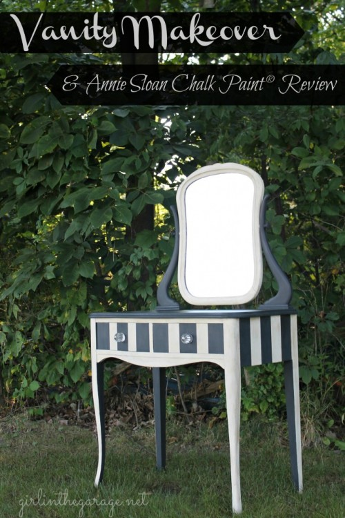 striped vanity with chalkboard parts (via girlinthegarage)