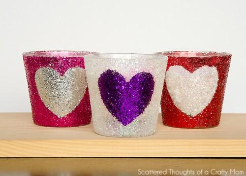 glitter heart candleholders (via scatteredthoughtsofacraftymom)
